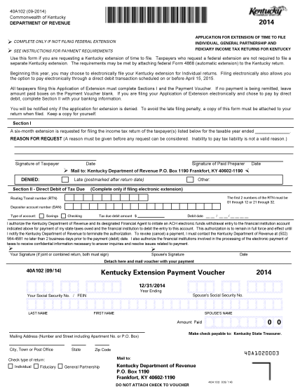 100528013-40a102pdf-40a102-09-2014-commonwealth-of-kentucky-department-of-revenue-2014-application-for-extension-of-time-to-file-individual-general-partnership-and-fidiciary-income-tax-returns-for-kentucky-complete-only-if-not-filing-federal-ext