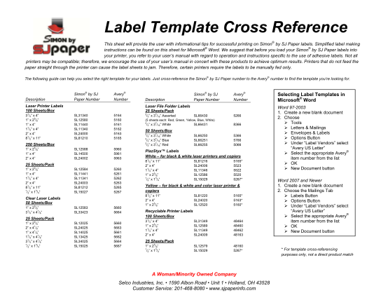 129449145-label-template-cross-reference-selco-industries-inc