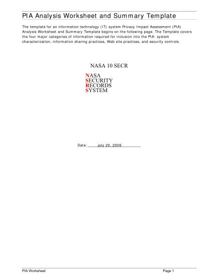 13523143-pia-analysis-worksheet-and-summary-template-nasa-nasa