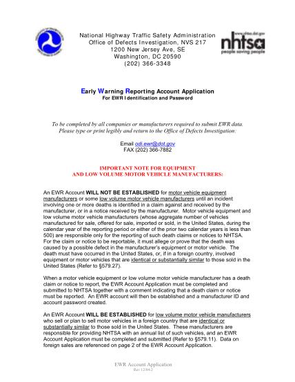 13555400-nhtsa-ewr-manufacturer-account-application-www-odi-nhtsa-dot