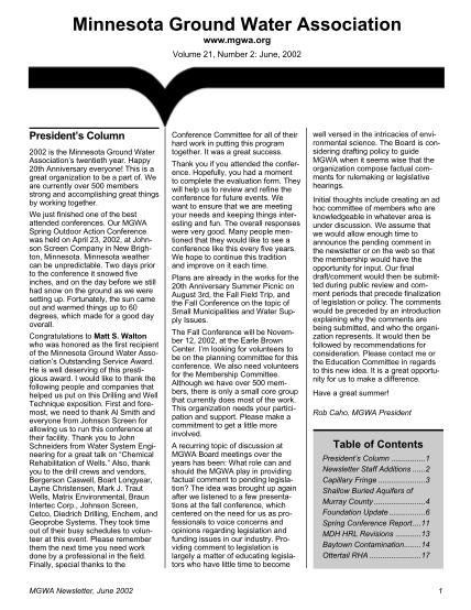 15146262-mgwa-newsletter-vol-21-no-2-minnesota-ground-water-association-mgwa