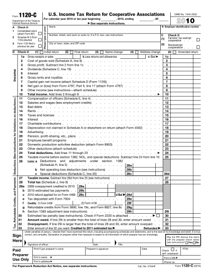 1651754-f1120c-2010-form-1120-c-us-income-tax-return-for-cooperative-associations-irs-tax-forms--2010