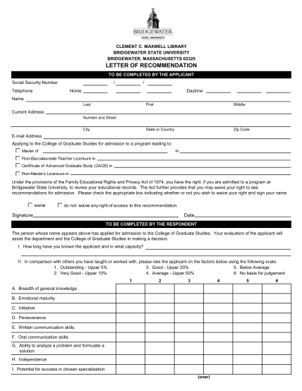 16638347-fillable-bridgewater-state-letters-of-recommendation-form-bridgew