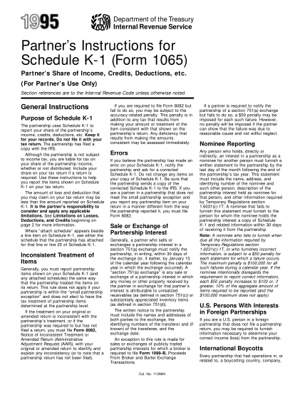 1670980-y9511396-1995-partners-instructions-for-schedule-k-1-form-1065-parnters-share-of-income-credits-deductions-etc-for-partners-use-only-irs-tax-forms--1995