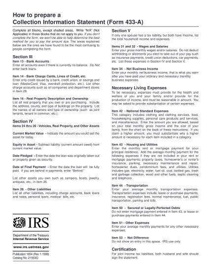 2137012-p1854-publication-1854-rev-01-99-how-to-prepare-a-collection-information-statement-form-433-a-irs-tax-forms--1999---part-1