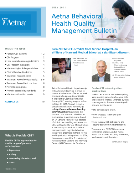 26928-behavioral_heal-th_quality_mana-gement_bulletin-_july_2011-behavioral-health-quality-management-bulletin-july-2011--aetna-aetna-insurance-claims-forms-and-applications