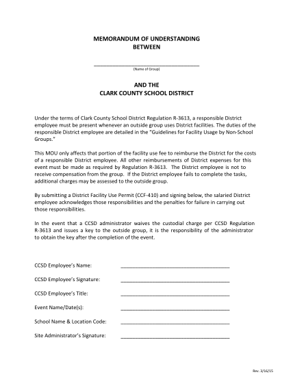 271926027-memorandum-of-understanding-between-name-of-group-and-the-clark-county-school-district-under-the-terms-of-clark-county-school-district-regulation-r3613-a-responsible-district-employee-must-be-present-whenever-an-outside-group-uses