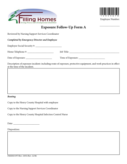 275609316-12345678-employee-number-exposure-followup-form-a-reviewed-by-nursing-support-services-coordinator-completed-by-emergency-director-and-employee-employee-social-security-home-telephone-job-title-date-of-exposure-time-of-exposure