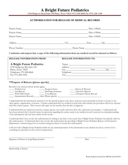 298762735-releasefromabf-updatedpdf-authorization-for-release-of-medical-records-a-bright-future-pediatrics