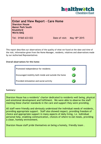 348861130-enter-and-view-report-care-home-sharston-house-manor-park-south-knutsford-wa16-8aq-tel-01565-633-022-date-of-visit-may-18th-2015-this-report-describes-our-observations-of-the-quality-of-what-we-found-at-the-date-and-time-of-the-visit