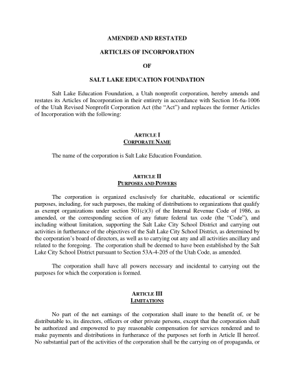 353792315-articles-of-incorporation-salt-lake-education-foundation-saltlakeeducationfoundation