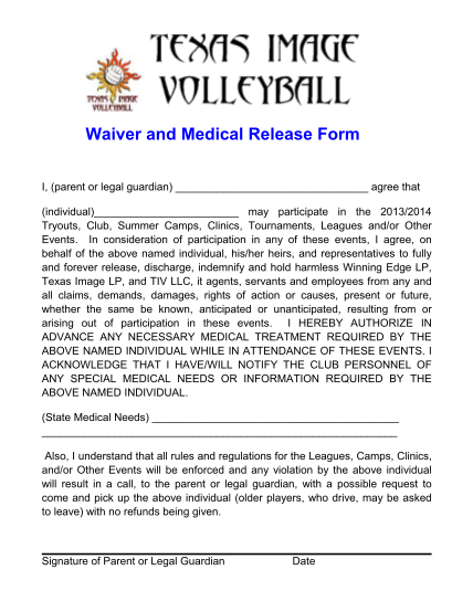 354312506-2013-2014-texas-image-waiver-medical-releasepdf-waiver-and-medical-release-form-texas-image-volleyball
