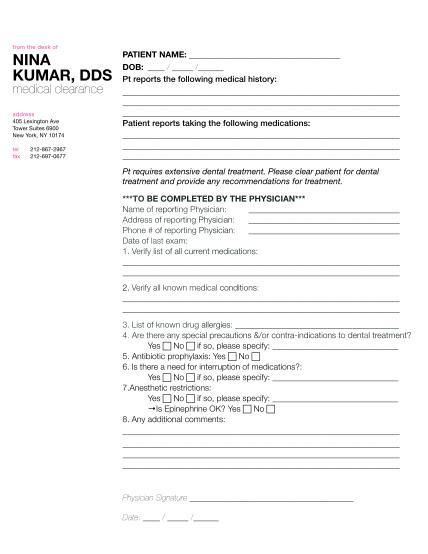 365181499-med-clearancepdf-nina-patient-name-kumar-dds-dob