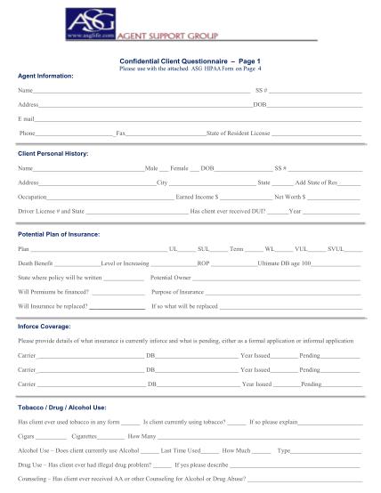 37253393-confidential-client-questionnaire-page-1-agent-support-group