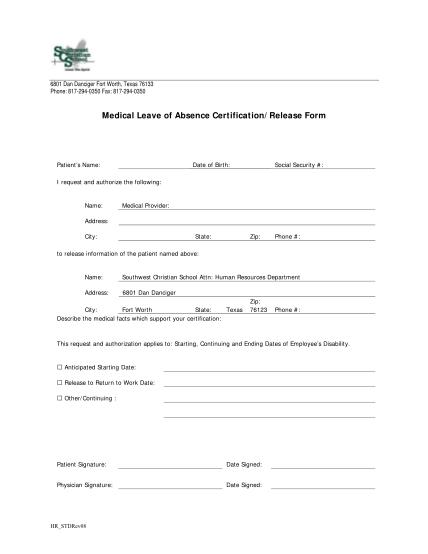 37503588-medicalloa_certificationpdf-medical-leave-of-absence-certificationrelease-form-southwest-southwestchristian