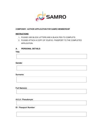 39181814-fillable-samro-forms-pdf