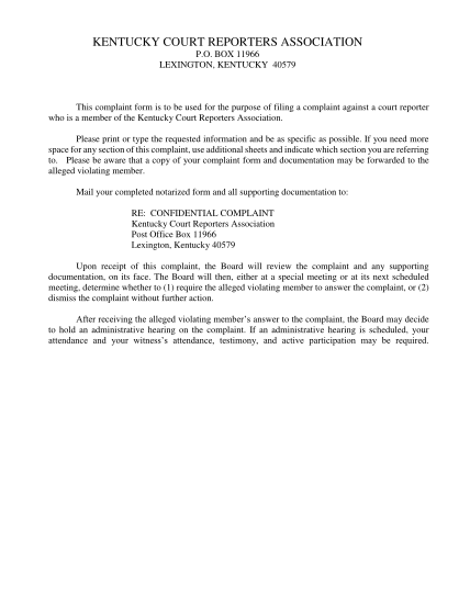 437230305-box-11966-lexington-kentucky-40579-this-complaint-form-is-to-be-used-for-the-purpose-of-filing-a-complaint-against-a-court-reporter-who-is-a-member-of-the-kentucky-court-reporters-association