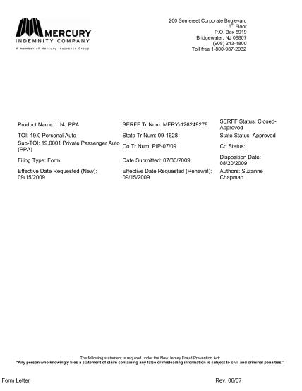 44821721-form-letter-rev-0607-product-name-nj-ppa-serff-tr-num
