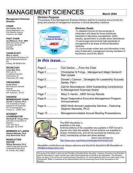 46114603-management-sciences-division-newsletter-march-2004-management-sciences-division-newsletter-march-2004-aacc
