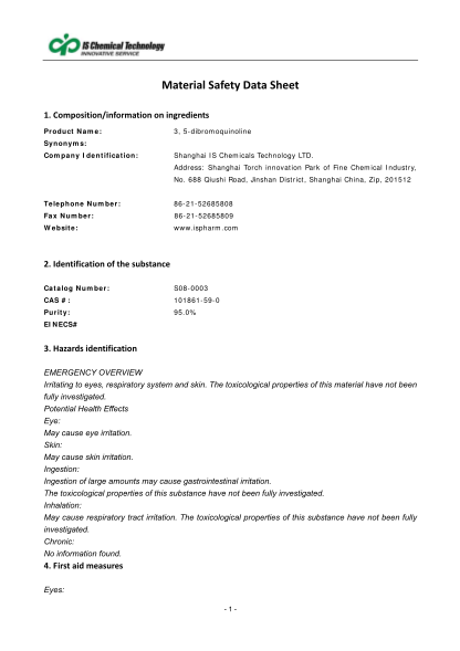 467600262-compositioninformationoningredients-product-name-3-5dibromoquinoline-synonyms-company-identification-shanghai-is-chemicals-technology-ltd