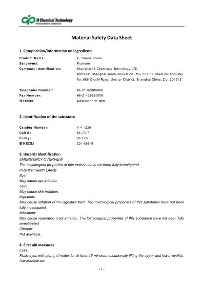 467600326-compositioninformationoningredients-product-name-2-3benzindene-synonyms-fluorene-company-identification-shanghai-is-chemicals-technology-ltd
