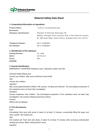467600344-compositioninformationoningredients-product-name-2amino4bromobenzoic-acid-synonyms-company-identification-shanghai-is-chemicals-technology-ltd