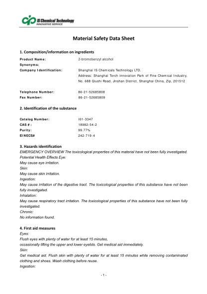 467600348-compositioninformationoningredients-product-name-2bromobenzyl-alcohol-synonyms-company-identification-shanghai-is-chemicals-technology-ltd