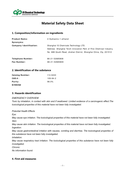 467600364-compositioninformation-on-ingredients-product-name-2hydrazino1ethanol-synonyms-company-identification-shanghai-is-chemicals-technology-ltd