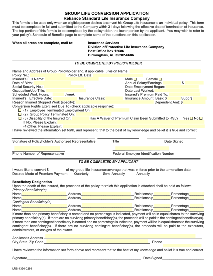48189696-group-life-conversion-application-reliance-standard-life-insurance-company-this-form-is-to-be-used-only-when-an-eligible-person-desires-to-convert-his-group-life-insurance-to-an-individual-policy