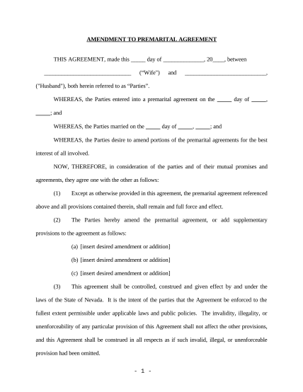 497320482-amendment-to-prenuptial-or-premarital-agreement-nevada