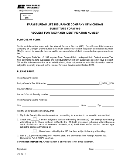 51181717-farm-bureau-life-insurance-company-of-michigan-substitute-form-w-9