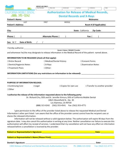 54991410-record-release-authorization-form-colorpdf-5-record-release-authorization-form-california-mobile-dental