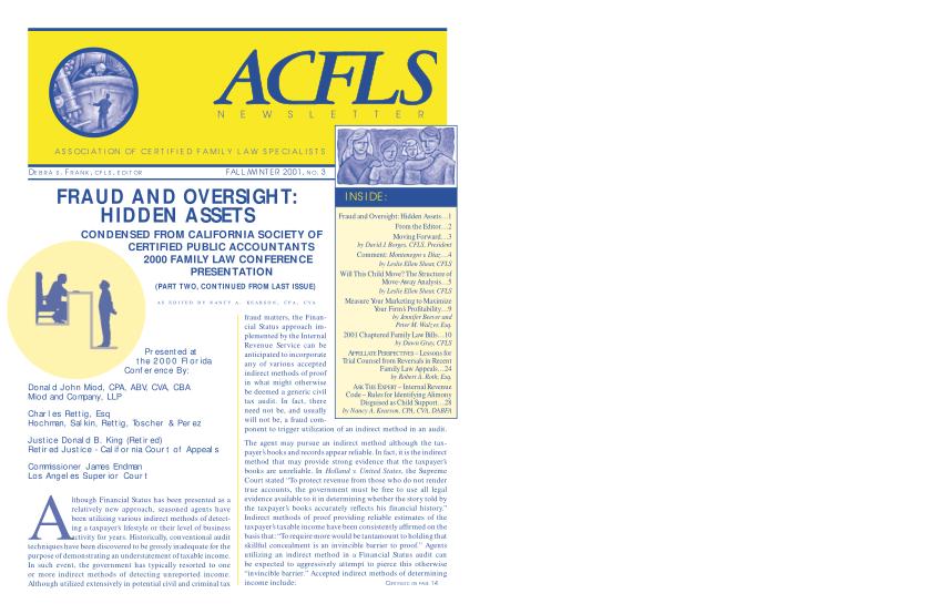 60186999-acfls-newsletter-fallwinter-2001-no3-association-of-certified-acfls