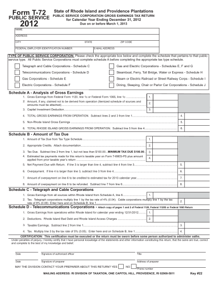 85742802-form-t-72-public-service-state-of-rhode-island-and-providence-plantations-public-service-corporation-gross-earnings-tax-return-2012-for-calendar-year-ending-december-31-2012-due-on-or-before-march-1-2013-name-address-city-state-federa