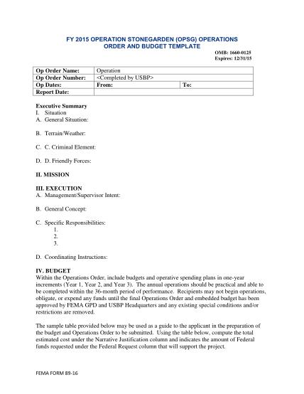 94751073-fy-2015-opsgo-order-and-budget-template-fema-form-89-16-fema