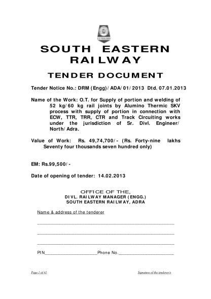 95363577-south-eastern-railway-tender-document-tenders-india