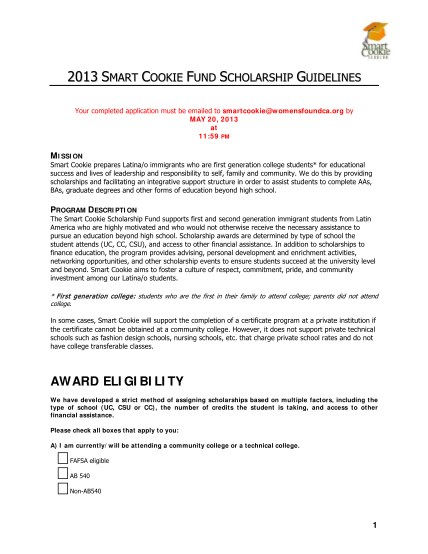 99952965-2013-smart-cookie-fund-scholarship-guidelines-your-completed-application-must-be-emailed-to-smartcookie-womensfoundca