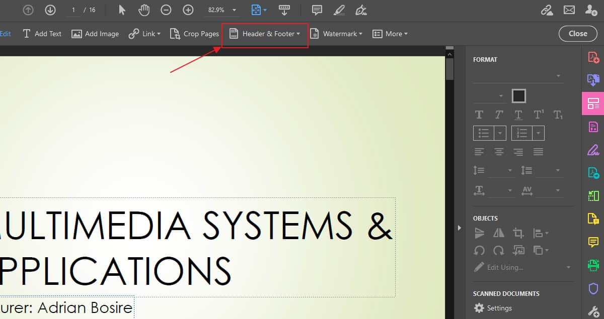 Add page numbers to PDF on Acrobat