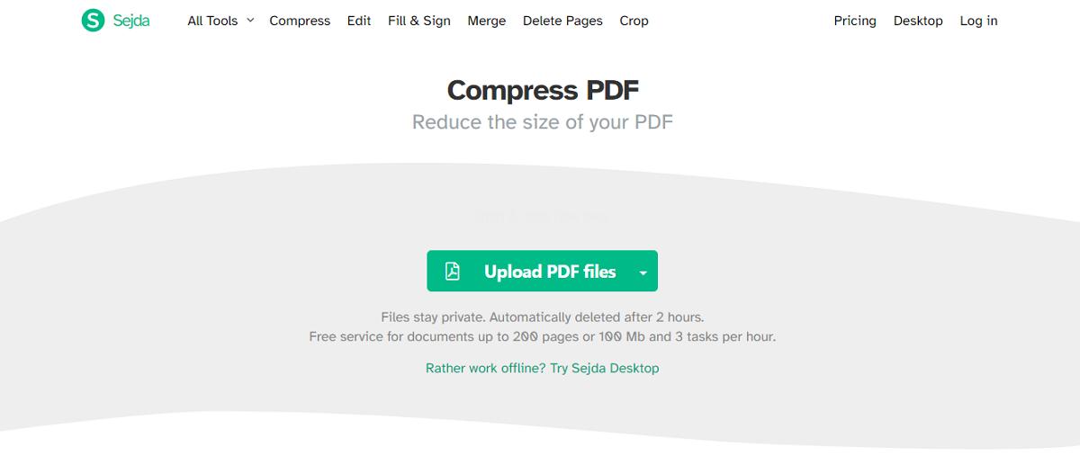 sejda compres s pdf