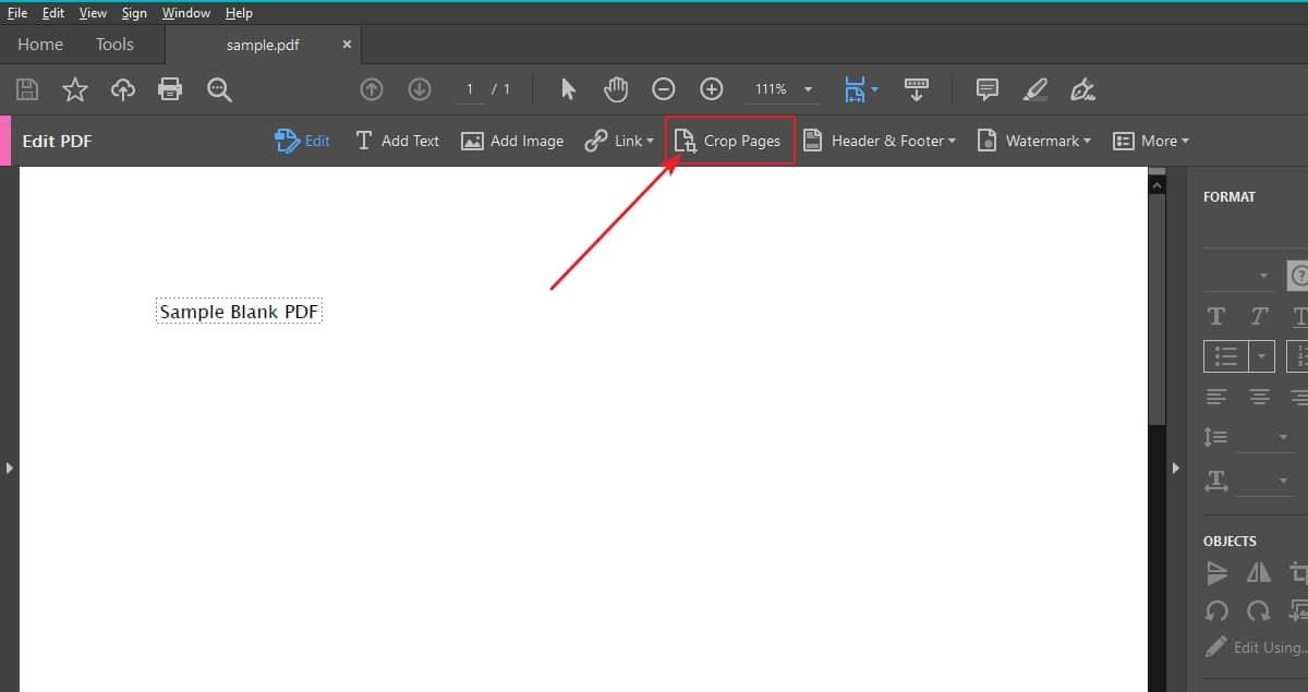 Crop PDF on Adobe